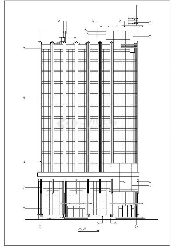 沈阳市丽渡小区14层框架结构商住楼立剖面设计CAD图纸(1-3层商用)-图一