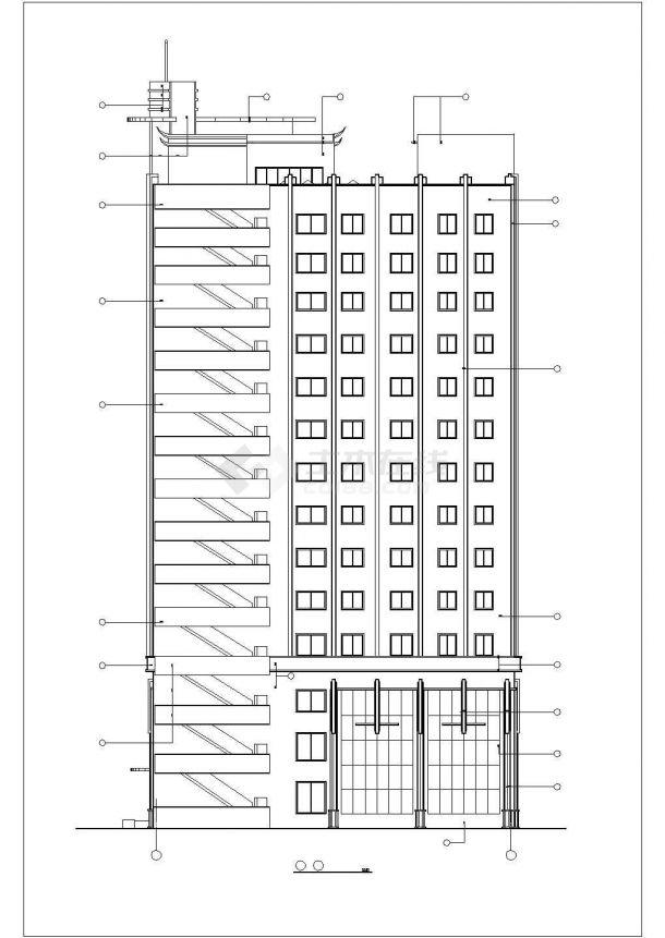 沈阳市丽渡小区14层框架结构商住楼立剖面设计CAD图纸(1-3层商用)-图二