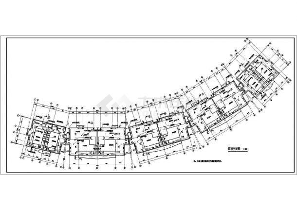 常州紫玉园小区1.7万平米4层砖混结构住宅楼建筑设计CAD图纸(含车库)-图一