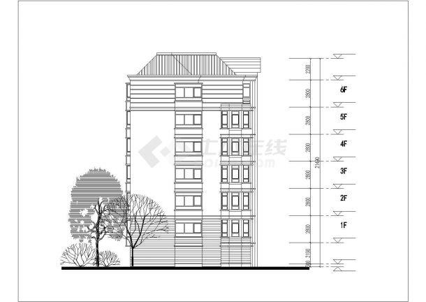 重庆市玉祥嘉苑小区6层砖混结构住宅楼平立面设计CAD图纸(每层520平)-图二