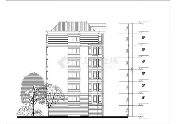 青岛市翠微家园小区6层砖混结构住宅楼平立面设计CAD图纸(每层360平)-图二
