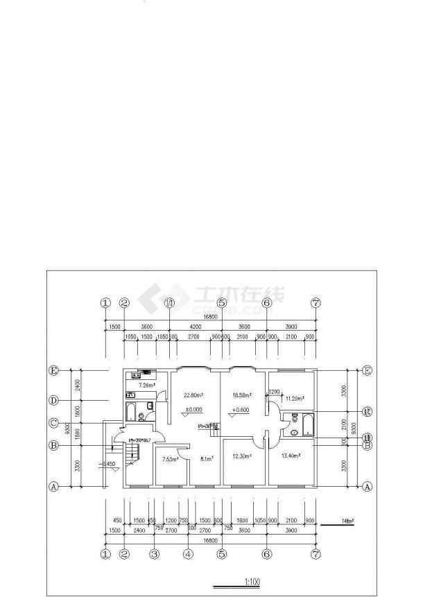 许昌市春燕花园小区经典平面户型设计CAD图纸(共70张/1梯2户型)-图二