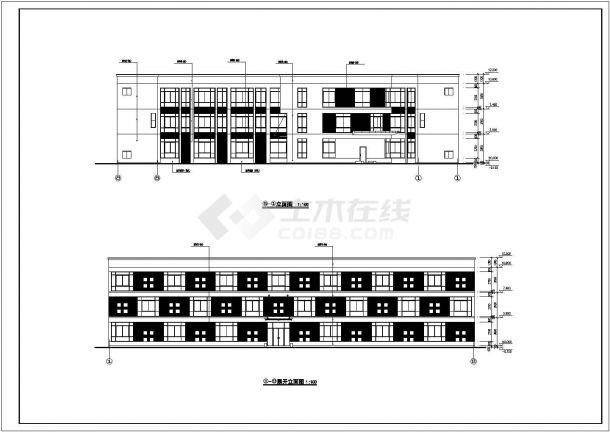 嘉兴市某工业区3层框架结构扇形结构宿舍楼建筑设计CAD图纸-图一