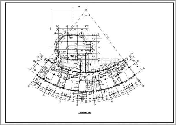 嘉兴市某工业区3层框架结构扇形结构宿舍楼建筑设计CAD图纸-图二