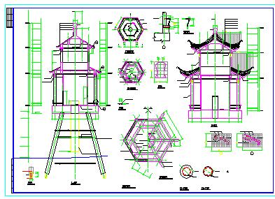 某园林重檐仿古亭建筑cad设计施工图-图一