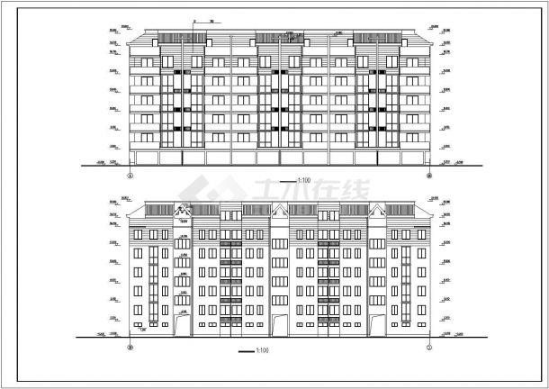 镇江市新华山庄小区5层砖混结构住宅楼建筑设计CAD图纸(含阁楼和车库)-图一