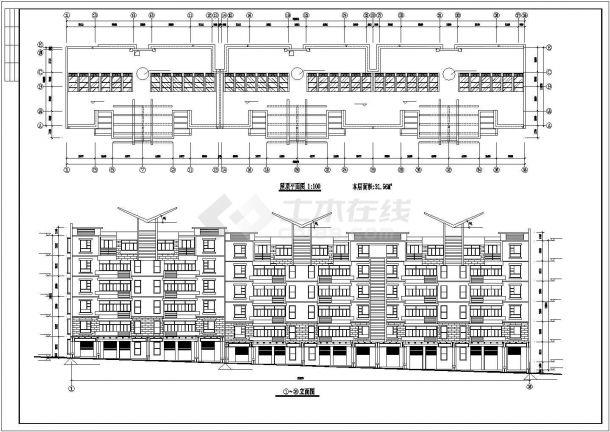 杭州市翰林府邸小区4200平米6层砖混结构住宅楼全套建筑设计CAD图纸-图二