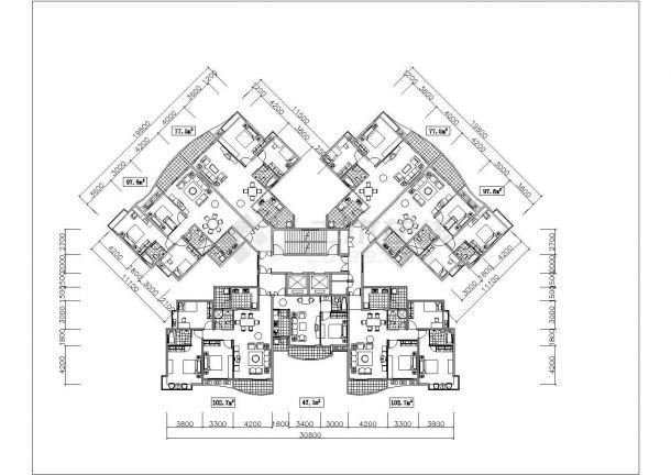 西宁市世华佳苑小区多栋住宅楼的标准层平面设计CAD图纸(7张)-图一