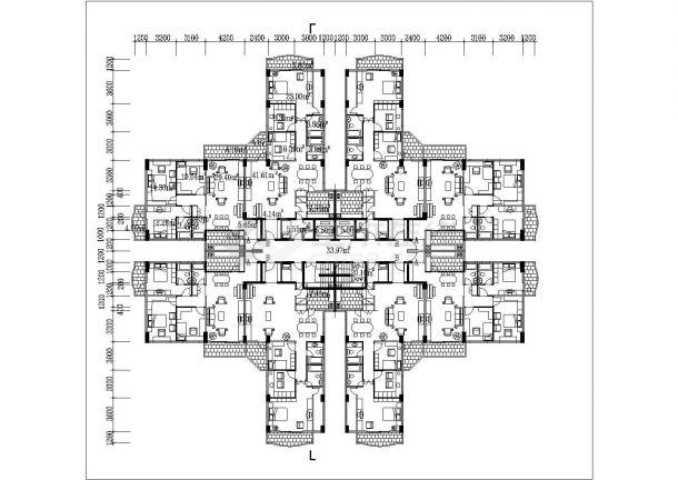 衡阳市东方花园小区14层框架结构住宅楼平立面设计CAD图纸-图二