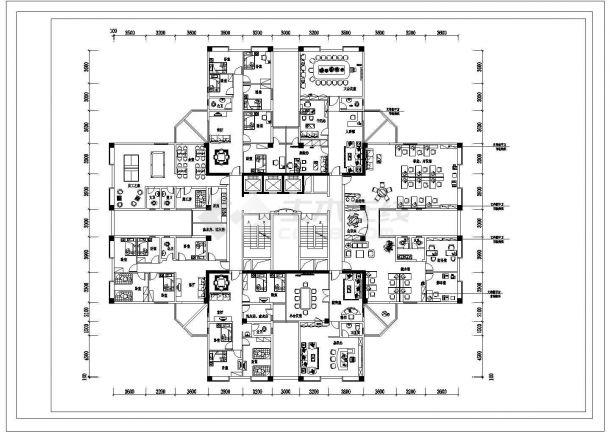 丽江市豪景华园小区高层住宅楼经典户型平面装修装饰设计CAD图纸-图一