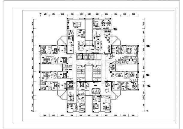 丽江市豪景华园小区高层住宅楼经典户型平面装修装饰设计CAD图纸-图二