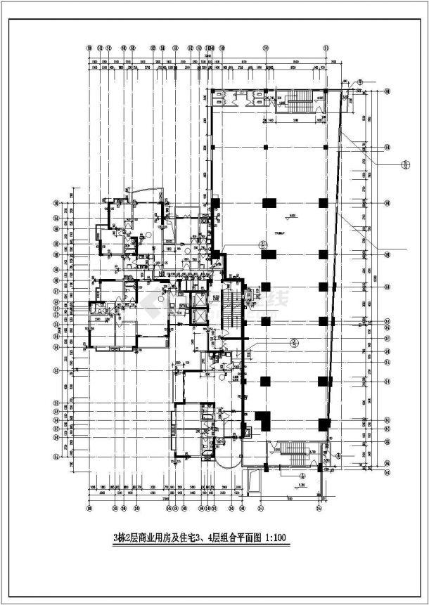 重庆市梧桐家园小区28层框架结构住宅楼局部平面设计CAD图纸-图一