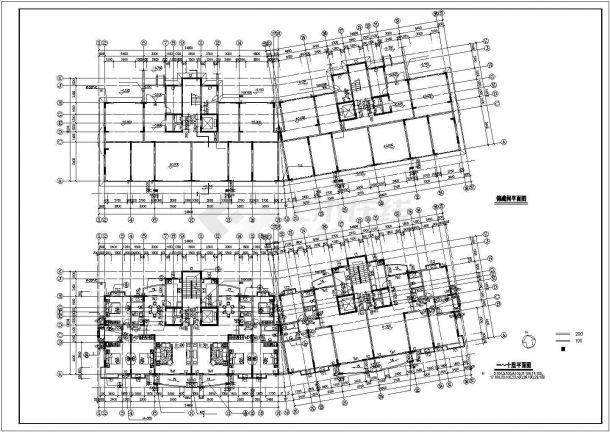 7千平米11+1层框架结构住宅楼全套建筑设计CAD图纸(含储藏间层)-图二