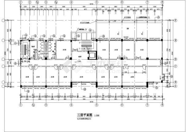 某多层办公楼CAD建筑设计施工图-图一