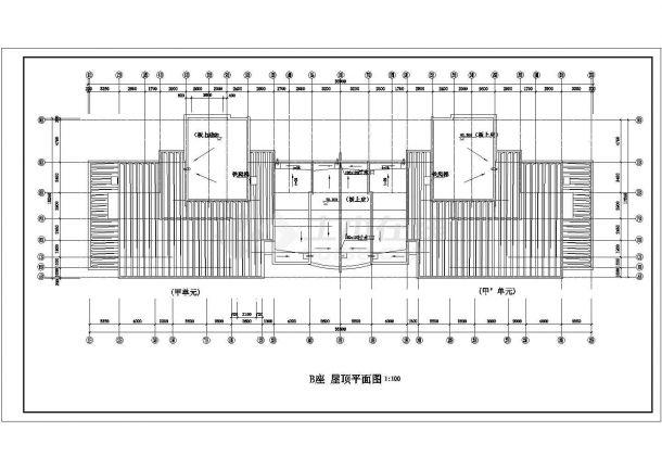 天津市九莲花园小区26+28层双段框架结构住宅楼全套平面设计CAD图纸-图一