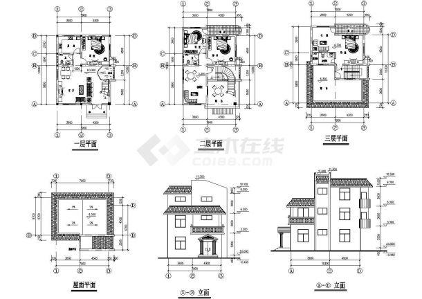某地上三层现代风格别墅建筑施工CAD图纸(6张图纸)-图一
