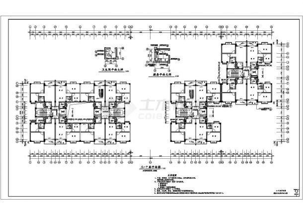 阜阳市某小区1.3万平12层框架结构住宅楼建筑设计CAD图纸(含地下车库)-图一
