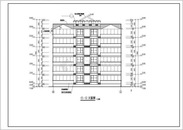 南京市书香一品小区1800平米6层砖混结构住宅楼建筑设计CAD图纸-图二