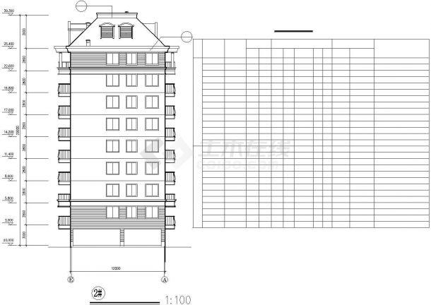 烟台市西苑小区8层框混结构住宅楼建筑设计CAD图纸(含闷顶层和架空层)-图二