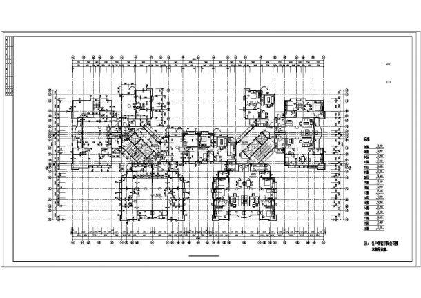 上海市某小区33层剪力墙结构住宅楼平面设计CAD图纸(含机房水箱层)-图一