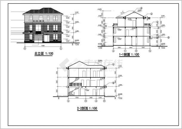 南京市晶石花园小区320平米3层框架结构住宅楼建筑设计CAD图纸-图二
