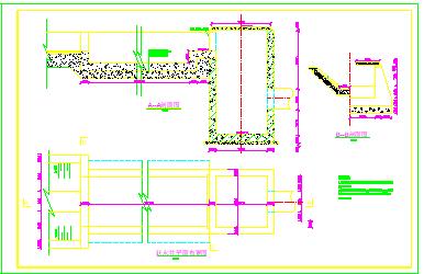 某种植基地调水池引水渠道进口过水渡槽跌水设计施工cad图纸-图一