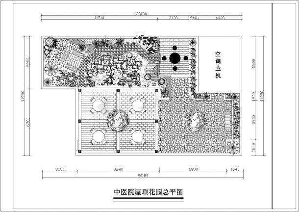 某城市医疗建筑屋顶花园景观设计施工CAD图纸-图一