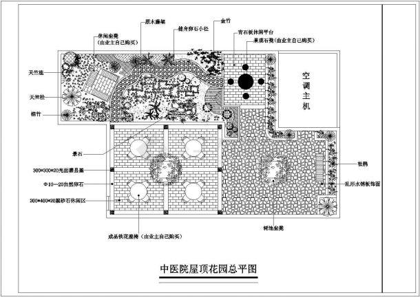 某城市医疗建筑屋顶花园景观设计施工CAD图纸-图二