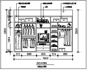 衣柜设计_某组合衣柜大样设计cad图纸-图一