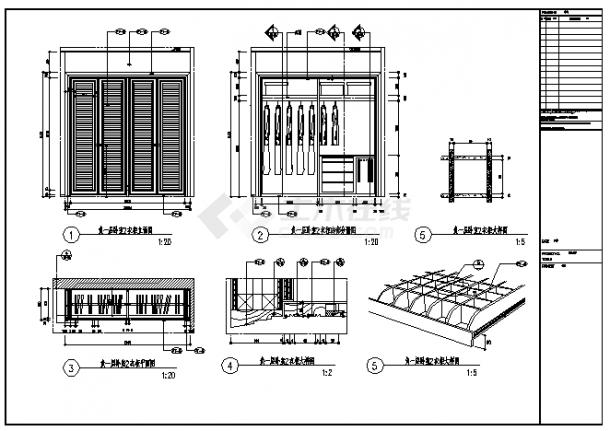衣柜设计_某卧室四门衣柜设计cad图纸-图一