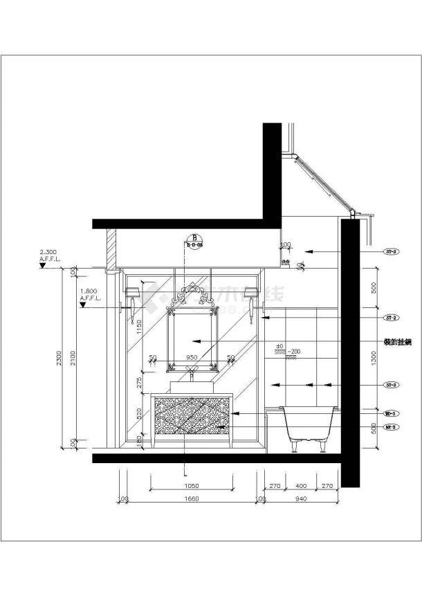 某地区别墅装修主卧cad装饰施工设计详图-图一