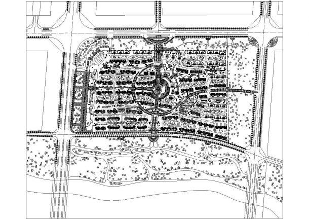 某现代风格多层生活住宅楼小区规划设计cad总平面施工图-图一