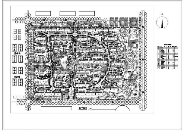 某方形地块多层住宅小区规划设计cad总平面施工图(含技术经济指标)-图一