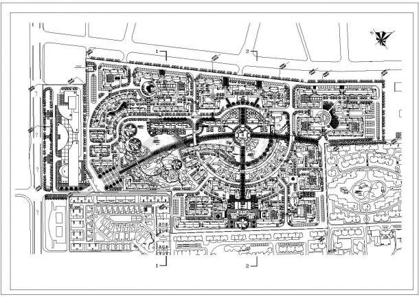 某城市新建多层住宅小区规划设计cad总平面施工图-图一