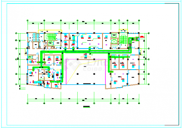 [安徽]高层医疗保健综合建筑空调通风及防排烟系统cad图纸-图一