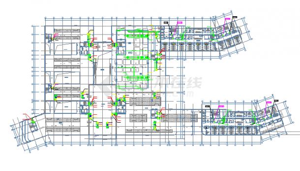 [浙江]高层医院建空调通风及防排烟系统cad施工图(全直流新风系统风冷热泵)-图一