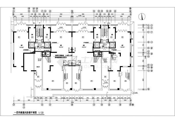 常州某地高层住宅楼采暖通风防烟cad平面施工设计图-图一