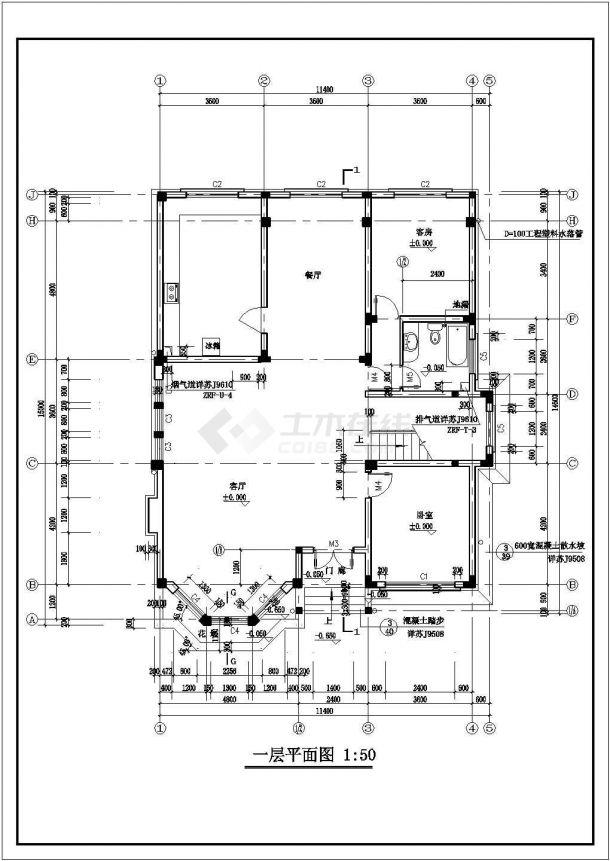 某二层带阁楼层砖混结构新农村住宅楼设计cad全套建筑施工图纸-图一