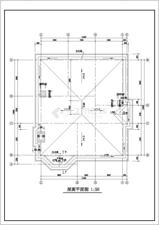 某二层带阁楼层砖混结构新农村住宅楼设计cad全套建筑施工图纸-图二