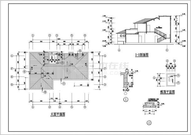 某二层框架结构新农村住宅楼设计cad详细建筑施工图(含设计说明)-图二
