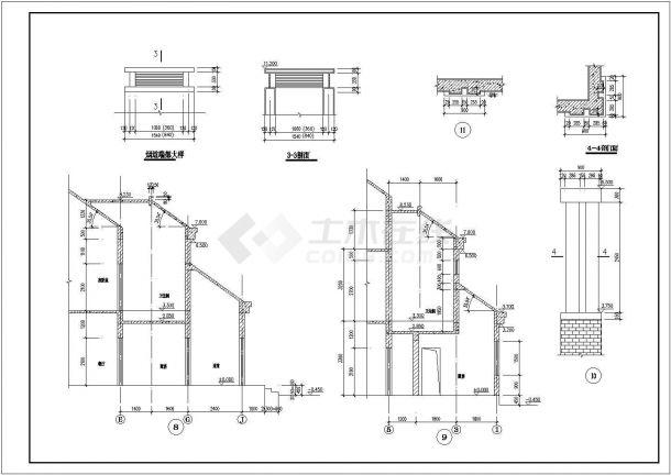 某三层框混结构新农村住宅楼设计cad全套建筑施工图(含设计说明)-图二