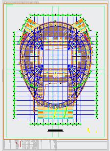[吉林]6018座钢桁架中央索承网壳组合屋架体育馆建筑结构cad设计图-图二