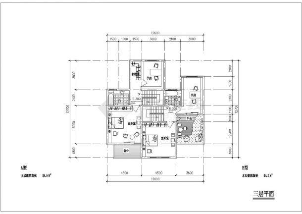 某三层框架结构农村住宅楼设计cad建筑方案图-图二