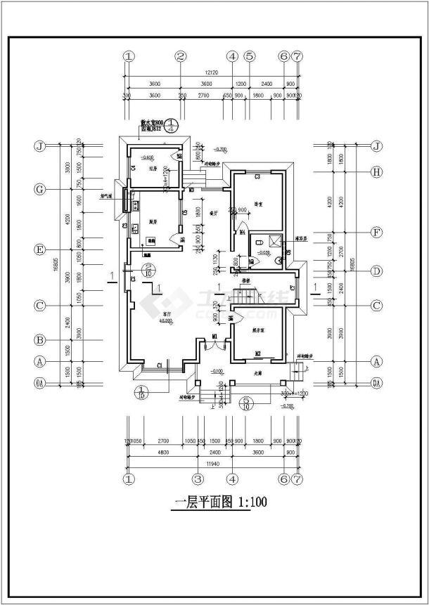 什邡某三层砖混结构农村住宅楼设计cad详细建筑施工图(含设计说明)-图一