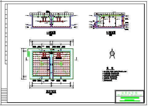 生活污水SBR反應池800噸工程設計cad施工圖-圖二