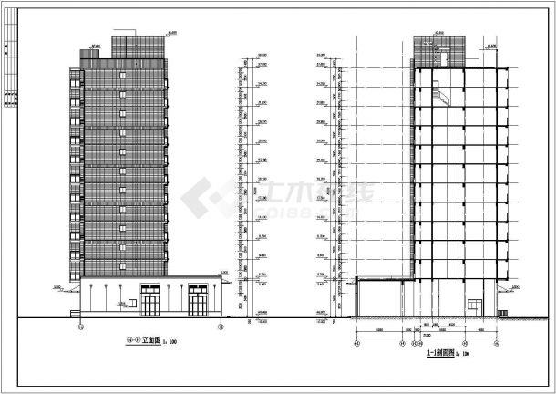 佳木斯市龙阳花苑小区11层框架结构住宅楼建筑设计CAD图纸(底层为车库)-图一