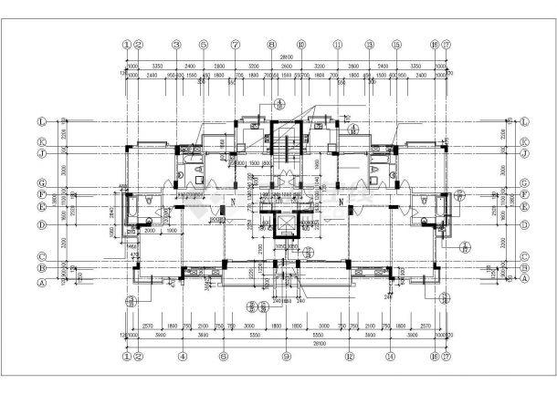 咸阳市梓园花苑小区11层框架结构住宅楼建筑设计CAD图纸(含机房层)-图一