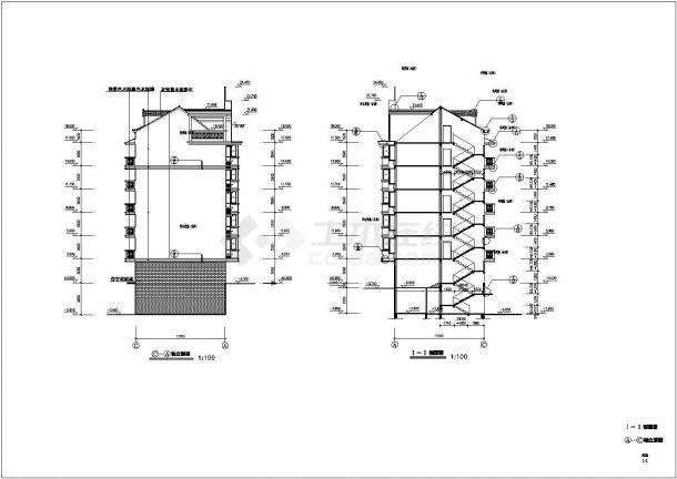 江苏省张家港市某多层住宅小区建筑施工设计CAD图纸-图二