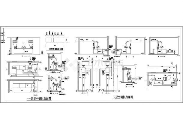 某多层办公写字楼全套空调通风系统施工设计cad图纸-图二