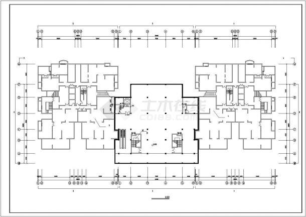 宿迁市安源花苑小区22层框架结构住宅楼平立面设计CAD图纸(含机房层)-图一